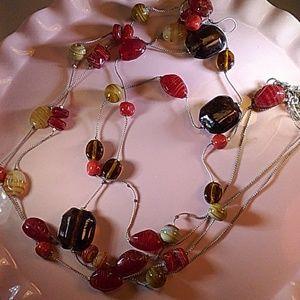 NY silvertone multistrand necklace